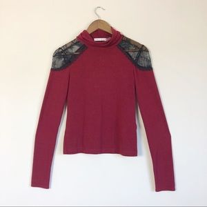 Alice + Olivia Red Turtleneck with Lace Inserts 23